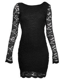 London Fashion Hub Sherry Cowl Back Lace Dress Black