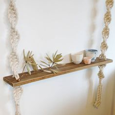 Chunky handmade macrame wall shelf. Can be hung from the wall (I use the decorative screw in knobs that can be purchased from any homeware, Ikea or Kmart) Or it can be hung from the ceiling. Rope is knotted to be very strong. This item is also available with a light coloured pine shelf. Or I can paint or stain it for you for a small additional cost. Add that perfect touch of Scandinavian styled texture to a room. I also make custom pieces, if you have something in mind just send me an…