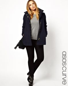 355af133042 ASOS CURVE Exclusive Coat With Funnel Neck And Gold Zip at asos.com
