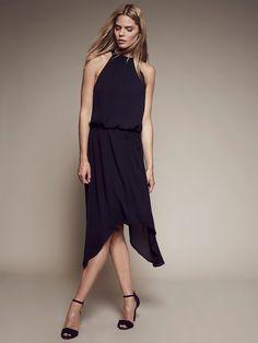 Krisa High Low Halter Midi Dress - Gerbera Xs