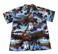 Vintage 90s Purple Palm Tree Print Hawaiian Shirt Mens Size Medium $30.00
