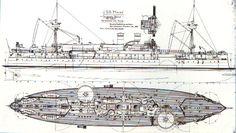 Plan of the first battleship Maine - USS Maine (ACR-1) - Wikipedia, la enciclopedia libre