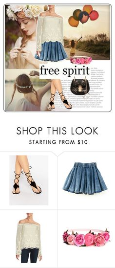 """""""Crochet top & denim culottes shorts"""" by nordicstyle ❤ liked on Polyvore featuring Polaroid, Costa, Balmain, Kendall + Kylie, California Moonrise, H&M and Chloé"""