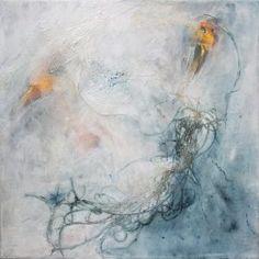 kunstreiche | birds | Acryl, Fäden, Kreide auf Leinwand | 50 × 50 cm