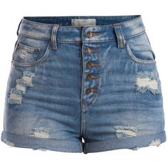 PIECES Just Denim High Waist Shorts (€41) ❤ liked on Polyvore featuring shorts, bottoms, pants, short, medium blue denim, blue shorts, blue high waisted shorts, short shorts, high-waisted jean shorts and high waisted short shorts