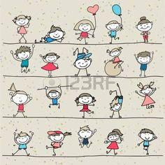 disegno a mano fumetto felici bambini che giocano