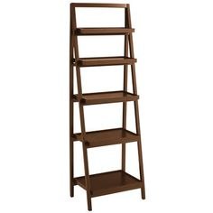 Our ladder-style bookcase gives you lots of display and storage space in a clean, contemporary silhouette. Built of pine and engineered wood for durability and strength, it's finished with hand-applied color for a lightly distressed effect.