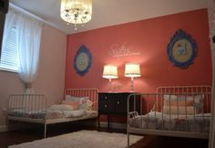 Little girl room * colors? Coral and royal blue with butter yellow and white accents/furniture
