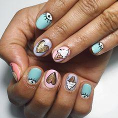 Creative Nail Designs, Creative Nails, Nail Art Designs, Asian Nail Art, Asian Nails, Fun Nails, Pretty Nails, Magic Fingers, How To Cut Nails