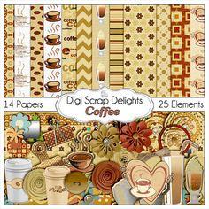Coffee Digital Scrapbook Kit coffee clip art by DigiScrapDelights, brown, cream,