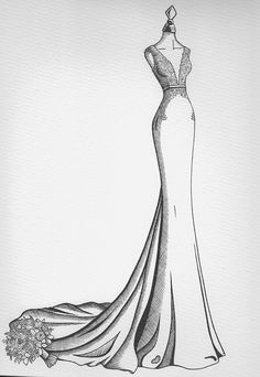 Our bespoke wedding dress drawing s are the perfect elegant anniversary gift or as a stand out wedding day present. Dress Design Drawing, Dress Design Sketches, Fashion Design Sketchbook, Fashion Design Drawings, Drawing Sketches, Dress Designs, Drawing Faces, Wedding Dress Drawings, Wedding Dress Illustrations