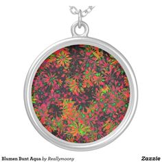 Blumen Bunt Aqua Versilberte Kette Designs, Bunt, Pocket Watch, Coin Purse, Aqua, Laptop, Purses, Wallet, Accessories
