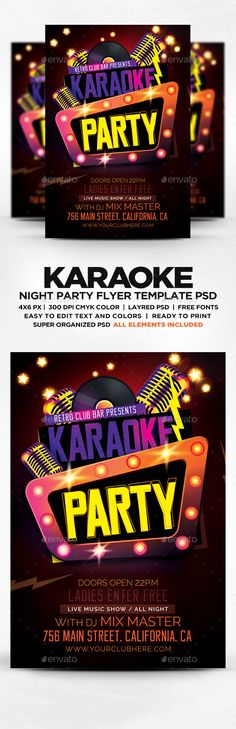 Karaoke Night Party Flyer Template Psd | Download, Flyer Template