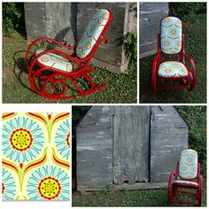 Refinished rocker in red and print fabric (cute!)