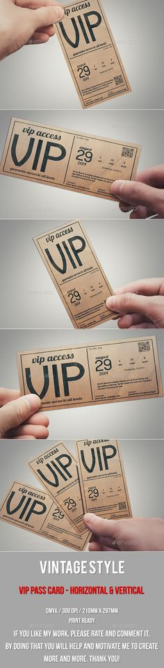 Vintage Style Vip Pass Card - Cards & Invites Print Templates Download here: https://graphicriver.net/item/vintage-style-vip-pass-card/10206082?ref=alena994