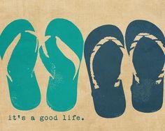 Flip flops Beach Summer Typography Positivity  by DawnSmithDesigns. , via Etsy.