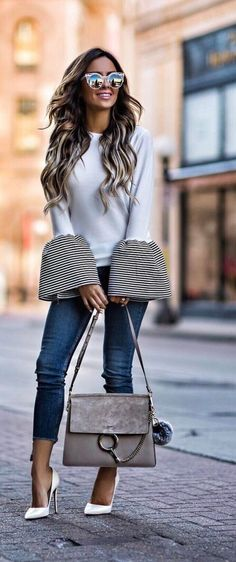 This bell sleeve top outfit is perfect for the colder months!