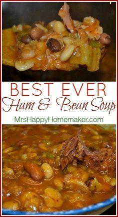 Best Ever Ham & Bean Soup 15 Bean Soup, Bean And Ham Soup, Ham Bone Bean Soup, Soup With Ham Bone, 13 Bean Soup Recipe, Italian Bean Soup, Soup Beans, Navy Bean Soup, Crock Pot Beans