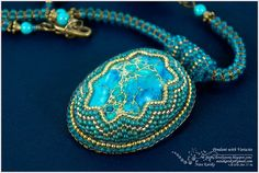 #beadwork  LovelyStone: Beaded Pendant with Variscite