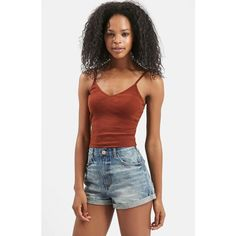 Topshop Ribbed Crop Camisole (£6.59) ❤ liked on Polyvore featuring tops, rust, v neck camisole top, layered crop top, v neck cami, camisole crop top and layered tops