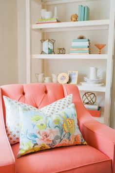 Wilson culled thrift stores to curate the well-styled shelves; the stacks of books were found at Goodwill and spray-painted to match the new color palette.