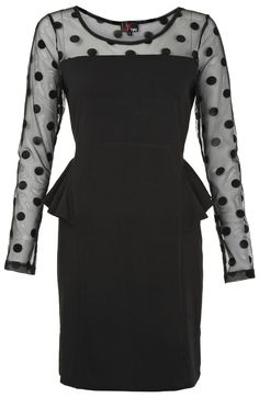 I love the polka dots that cover your arms and decollete - Read this article about baby boomer women's fashion at http://boomerinas.com/2012/10/holiday-party-dresses-christmas-red-not-only-choice/