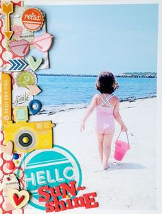 #papercraft #scrapbook #layout. hello sunshine by ginny at @Studio_Calico This layout from Ginny makes me so happy! I LOVE the side focal point against that ADORABLE photo! SERIOUSLY adorable!