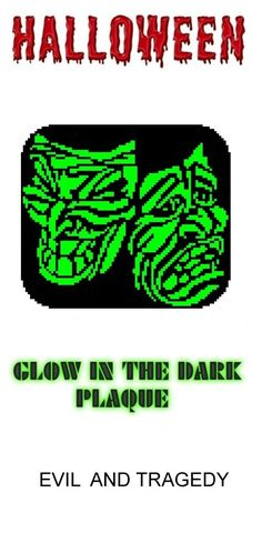 Evil and Tragedy Halloween Glow in Dark Window Plaque plastic canvas catalog item by Michael Kramer