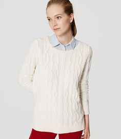Image of Cable Tunic Sweater color Whisper White Layering Outfits, Fall Outfits, Color Whisper, Petite Sweaters, Cute Cardigans, Tunic Sweater, Work Wardrobe, Warm And Cozy, Autumn Fashion