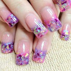 SCULPTURED NAILS done with foil flakes at the tip and acrylic powder dust