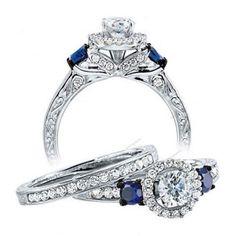 1.85 CT VVS1 Diamond and Sapphire Silver Prong Setting Bridal Wedding Ring Set #Aonejewels