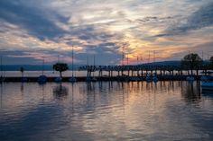 Sonnenuntergang bei der Hafenmole in Rapperswil