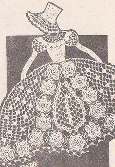 Crochet Irish Lace Sunbonnet Girl Vintage Chair Back Set Pattern