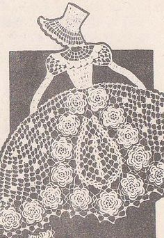 Crochet Irish Lace Sunbonnet Girl Vintage Chair Back Set Pattern