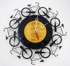 clock made out of recycled vinyl