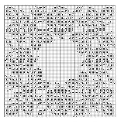 filet crochet lace squares - dogwood and roses Tatting Patterns, Doily Patterns, Loom Patterns, Crochet Patterns, Filet Crochet Charts, Crochet Diagram, Crochet Stitches, Crochet Table Runner, Crochet Tablecloth