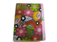 Pink and Grey Retro Flower Fabric Covered Journal by bagsbyhags45, $10.00
