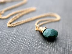 Emerald Necklace 14K Gold Fill, by Saressa Designs
