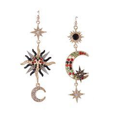 d1a3e7b1a 2017 Fashion luxury Moon Rhinestone tassel Drop Earrings Vintage Boho Big  Gem Sun Colorful Crystal Earrings for Women Jewelry