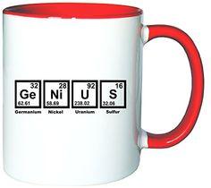 Mister Merchandise Kaffeetasse Becher Genius Periodentafel Chemistry Teetasse, verschiedene Farben - http://geschirrkaufen.online/mister-merchandise/weiss-rot-mister-merchandise-kaffeetasse-genius