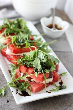 Grilled Watermelon and Feta Stacked Salads - Cooking for Keeps Watermelon Pizza, Grilled Watermelon, Watermelon And Feta, Watermelon Recipes, Clean Eating, Healthy Eating, Cooking Recipes, Healthy Recipes, Fresco