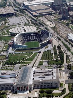 Aerial view of Soldier Field and Field Museum, Chicago. Soldier Field is the home of the Chicago Bears. It opened in and is the oldest NFL stadium, celebrating over 90 years of operation. Chicago Travel, Chicago City, Chicago Area, Chicago Illinois, Chicago Bears, Chicago Museums, Lago Michigan, Nfl Stadiums, The Blues Brothers