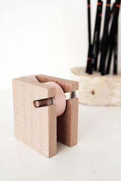 Hay wooden tape dispenser. By Smäm.
