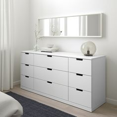 Buy IKEA NORDLI Chest of 9 drawers White. You can build NORDLI chest of drawers any which way – wide, low or in different heights to create the perfect solution for your space. Bedroom Drawers, White Bedroom Furniture, Ikea Bedroom, Shabby Chic Furniture, Bedroom Decor, Ikea Drawers, Closet Bedroom, Bedroom Ideas, Ikea Bedroom White