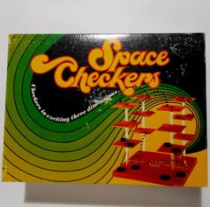 Vintage Space Checkers Game 3D Sci Fi Mod Theme Three