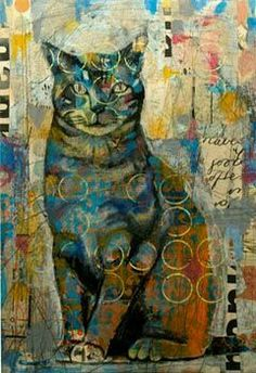 Mixed media cat by Judy Paul.