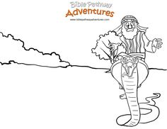 A coloring page for kids from the story, Escape from Egypt. YHWH turns Moses' staff into a snake!