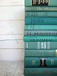 Ocean Books Instant Library Collection Decorative Books Photography Props Turquoise Books by the Foot Teal Green Aqua Blue