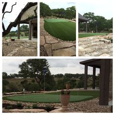Nice synthetic putting green and artificial grass project in Boot Ranch by Southwest Greens of San Antonio.