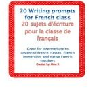 Writing prompts for French class is a list of 20 great writing prompts for intermediate to advanced students of French.    It has many practical us...